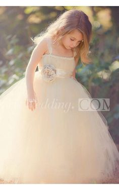 Sweet Tiered Tulle Ball Gown With Waist Flower