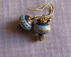 Enamel  bead Light Blue Golden oxidized Antique by Chitrasjewelart, $20.00