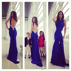 Wholesale Evening Dresses - Buy Backless Evening Dresses Royal Blue Elastic Satin Mermaid Sexy Women Formal Evening Gowns Gorgeous Wedding Party Detachable Train 2015 Beads, $116.1 | DHgate