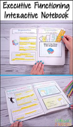 Teach executive functioning skills to kids and teens with an interactive notebook. Young adults will color, cut, and put Study Skills, Life Skills, School Organization For Teens, School Fun, High School, Working Memory, Elementary Counseling, Social Emotional Learning, Social Skills