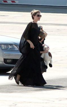 Black maxi dress while in Sarajevo, July 7, 2012.
