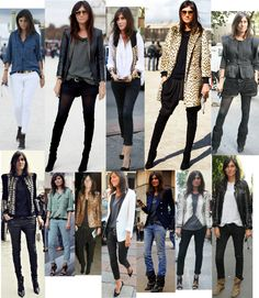 Emmanuelle Alt, French Vogue Editor - black, white button down shirt, leopard, chambray, leather jacket, boots