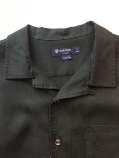 NEW Cremieux Short Sleeve Shirt - Size M Black #Cremieux #ButtonFront