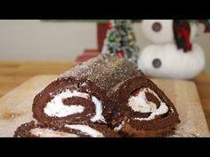 Chocolate Peppermint Roll Cake / Swiss Roll | 12 Days of Xmas Baking | sweetco0kiepie - YouTube