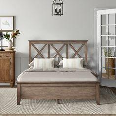 Ophelia & Co. Walburn Upholstered Standard Bed | Birch Lane King Bed Headboard, King Bed Frame, Bed Frame And Headboard, Headboards For Beds, Boho Bed Frame, House Frame Bed, House Beds, Wood And Upholstered Bed, Upholstered Platform Bed