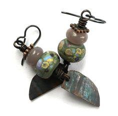 Earthy Lampwork Earrings, Rustic Copper Purple Olive Earrings, Natural Stones, Bohemian Earrings, Unusual Earrings, Niobium Dangle Earrings