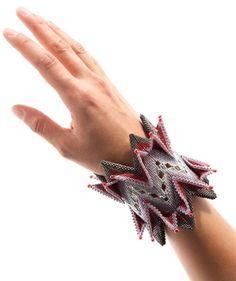 Beadwoven cuff - contemporary geometric beadwork