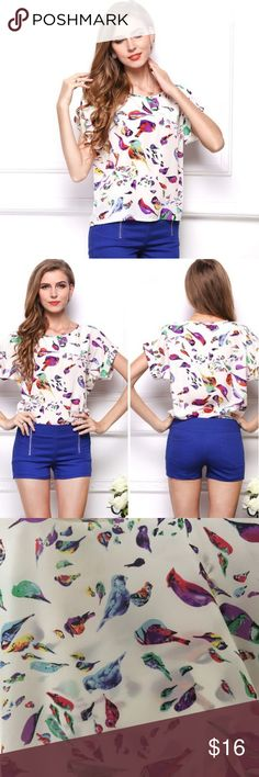 🐦 Spring Birds Top Super cute bird patterned top just in time for spring! Rolled cuff sleeves, satin like material.   Ships same or next business day from smoke free home!! Tops Blouses
