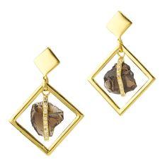 Smoky Quartz Square Drop Earrings | Didi Jewellery