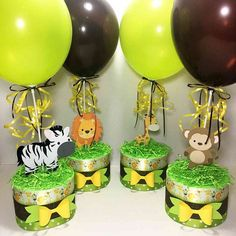 Request a custom diaper cake centerpiece to fit your baby shower theme. and 3 tier diaper cakes as well as other custom baby shower decorations. Safari Centerpieces, Baby Shower Table Centerpieces, Jungle Theme Parties, Safari Birthday Party, Lion King Baby Shower, Baby Boy Shower, Jungle Theme Baby Shower, Baby Shower Cakes, Baby Shower Themes