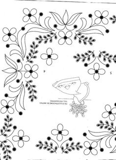 Resultado de imagen para patrones de bordado mexicano Brazilian Embroidery Stitches, Swedish Embroidery, Mexican Embroidery, Tambour Embroidery, Embroidery Fabric, Cross Stitch Embroidery, Embroidery Patterns, Botanical Line Drawing, Floral Drawing