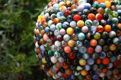 Great marble covered bowling ball globe for the garden!  Durable & Very Colorful!!!!