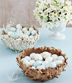 "Take a page from the grade-school activity book with these delicate candy dishes, made using shredded brown lunch bags and sheets from an old dictionary. You can also use these nests to corral your decorated Easter eggs. Step 1: Tightly cover a small bowl with plastic wrap, then flip the bowl upside down on wax paper. In another container, mix equal parts water and clear glue. Step 2: Dip handfuls of shredded paper into the glue mixture, then immediately lay them on the bowl until it's covered. Step 3: Lightly press dry paper strips along the outside to create a ""nesty"" look. Step 4: Let dry for 12 hours; carefully pull the wrap off the bowl and away from the nest."