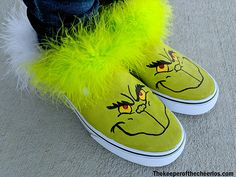 DIY Grinch Shoes - The Keeper of the Cheerios Painting For Kids, Diy Painting, Grinch Shoes, Grinch Mask, White Canvas Shoes, Christmas Crafts, Christmas Stuff, Xmas, Ugly Sweater Party