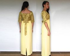 Shop SALE Vintage 60s Yellow Brocade Evening Gown by charlialana