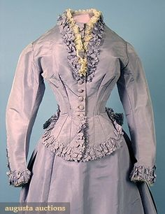 """FRENCH SILK VISITING DRESS, c. 1870 2-piece baby blue faille, bodice w/ ruched self fabric trim & lace, trained skirt, bustle built into skirt lining, petersham labeled """"Mme. Cuper, 245 Rue St. Honore"""""""
