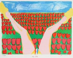 By Jan Cremer (b. 1940), 'Tulips', Colour lithograph.