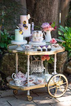 Vintage Tea Cart Loaded with Flowers, Cakes, and More via Kara's Party Ideas | karaspartyideas.com