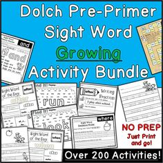 This bundle allows teachers to grab these Dolch Pre-Primer sight word activities at a steep discount!My intention is to add to this bundle as I… Pre Primer Sight Words, Sight Words List, Dolch Sight Words, Tracing Sheets, Kindergarten Language Arts, Word Board, Sight Word Activities, Word Of The Day, Teacher Hacks
