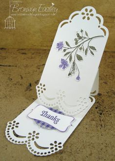 handmade card from addINKtive designs: Tag Easel Card ... luv the delicate die cut edges and stamped flowers on this card ...