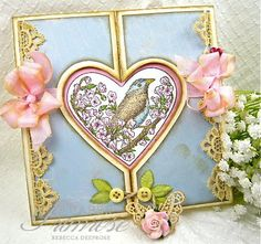 RebeccaDeeprose, for Sugar Creek Hollow, love, valentine, vintage, shabby chic, Stampin'Up's 'Take It To Heart' stamp set, blue, pink, white, ecru