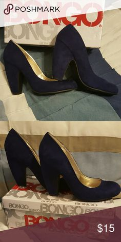 Blue suede heels A cute heel for work, with great support. Hidden platform makes the height comfortable. Heel is four inches. Great condition, only worn a few times. Shoes Heels