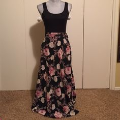 Gold/Pink Floral Skirt Long black skirt with white, gold, and pink rose floral pattern. Slightly vintage and very pretty. Closes with button and zipper. KL Collection Skirts