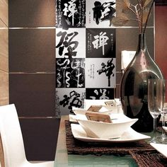 A restaurant featuring ZEN THOUGHTS Porcel Thin ART Collection digitally printed porcelain tiles