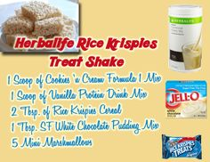 Herbalife Rice Krispies Treat Shake.....modify and use 2 scoops of form 1 and pdm