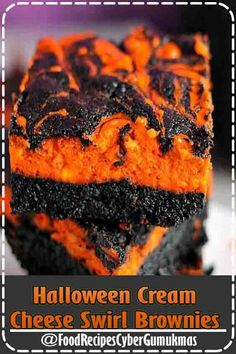 Halloween Swirl Cream Cheese Brownies have a layer of rich, dark chocolate brownie topped with a layer of orange cheesecake then swirled together for a spooky treat. These are sure to be a perfect dessert treat for everyone at your Halloween party! Halloween Brownies, Halloween Desserts, Entree Halloween, Scary Halloween Food, Fun Halloween Treats, Halloween Appetizers, Easy Halloween, Halloween Buffet, Halloween Cupcakes