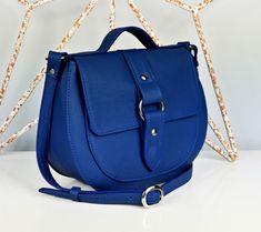 Royal Blue Leather Saddle Bag - Cross-body Bag - Personalized Bag - . f6c13f3ad1fa7