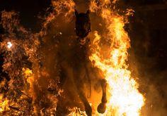 A man rides a horse through the flames during the