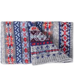 A welcome return to End for AW16, Jamieson's are a family owned business established early 1890's by Shetland Island native Robert Jamieson, whose family still carry on the legacy of the isle's incredible fabric to this day. This knitted scarf is constructed from 100% Pure New Wool sourced from the Shetland islands and features an all over Fair Isle design.  100% Pure New Wool All Over Fairisle Design Knitted on the Shetland Islands, Scotland