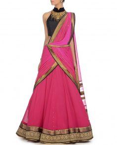 Fuchsia Jewel Collection Lengha Saree by Tarun Tahiliani - Festive Dressing - Celebrity Style - Indian Ethnic Fashion - Designer Wear - Traditional Festive Wear - Indian Designs - Fashion Trends - Diwali Dressing - Indian Colors - Festive Fashion India - Indian Designer Dresses - Ethnic Fashion Online