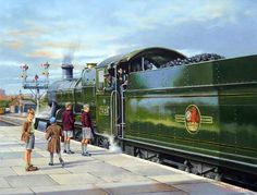 Railway Locomotive 7325 is Ready to Depart Worcester Shrub Hill Station (Wynne B Jones). Railway Posters, Travel Posters, Train Illustration, Steam Art, Old Steam Train, Nostalgic Art, Steam Railway, Train Art, Train Pictures