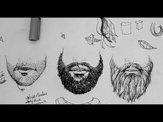 ▶ Pen and Ink Drawing Tutorials | How to draw beards and facial hair - YouTube