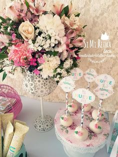 What pretty cake pops at Uma's Shabby chic 9th Birthday Party! See more party ideas at CatchMyParty.com