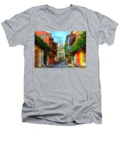 Men's V-Neck T-Shirt - Heroic City, Cartagena De Indias Colombia