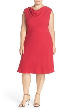 Tahari Drape Neck Jersey Fit  amp  Flare Dress (Plus Size) available at   c9d0587c9f2a
