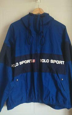 Mens Vintage 90s Ralph Lauren Polo Sport Jacket Blue Size XL Hooded Coat   eBay