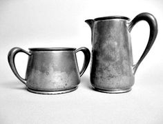 Pewter Sugar Bowl and Creamer Bernard Rice's Sons by autena, $30.00