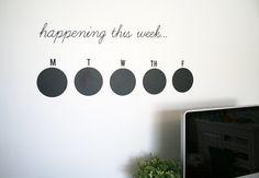 Weekly Chalkboard Calendar (8 Circles), What's Happening This Week Calendar, Organize. $19.99, via Etsy.
