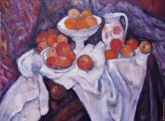 Купить Натюрморт с яблоками и апельсинами - сиреневый, подарок женщине, картина в подарок, картина маслом