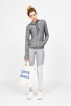 Outdoor Voices — Women's Grey Kit contains: Running Woman Sweats, Warmup Leggings, Steeplechase Sports Bra, Catch Me If You Can Hoodie and 'Doing Things' Tote Bag