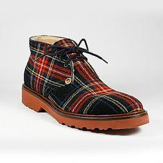 Cesare Paciotti Men Shoes 308 Madison Tartan Rosso Fabric Short Boots (CPM2210)