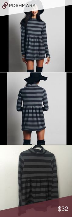 We The Free Striped Babydoll Tunic Top XS Striped long sleeve babydoll tunic with a turtleneck. Raw trim. Retail: $68 Size: Extra Small from Free People / We The Free Mod About Stripe Tunic Mini Dress Free People Tops Tunics