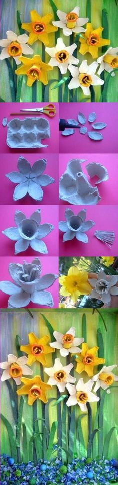 DIY Egg Carton Daffodil Flower - not quite a toy, but a fun way to turn rubbish into something pretty Egg Carton Art, Egg Carton Crafts, Egg Cartons, Carton Box, Flower Crafts, Diy Flowers, Paper Flowers, Daffodil Flowers, Kids Crafts