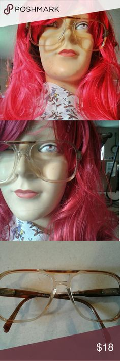👓❤ Vtg Luxottica frames- Freakin' sweet vintage 70's Aviator style frames with brilliant color! The lenses have already been taken out so they are ready for your own or to be worn like so with your mustard turtleneck 😁👍👍🌻 Accessories Glasses