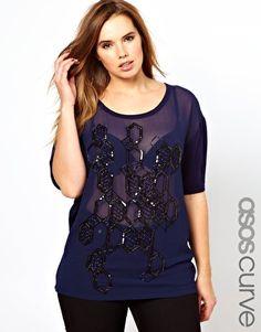 ASOS CURVE Woven Front Honeycomb T-Shirt