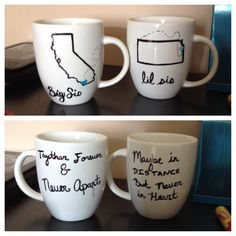 Distance Mugs when your best friend and sister moves away. #Creative #Sharpie bake for 30 mins at 350 degrees #sistergift